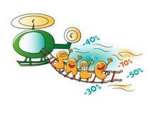 Caractères drôles de vente : lettres sur l'hélicoptère illustration stock