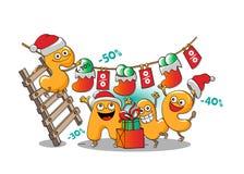 Caractères drôles de vente : vente de Noël illustration de vecteur