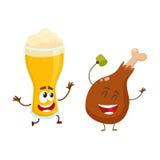 Caractères drôles en verre de bière et de jambe de poulet frit ayant l'amusement illustration stock