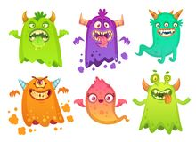 Caractères effrayants fâchés de mascotte de monstres de fantôme de monstre de bande dessinée, créature étrangère maladroite et ve illustration de vecteur