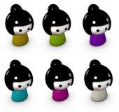 caractères femelles drôles de poupée mignonne japonaise de kokeshi Photographie stock libre de droits