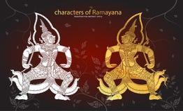 Caractères géants de tradition thaïlandaise de Ramayana illustration libre de droits