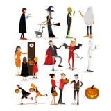 Caractères heureux de fête de vacances de Halloween d'isolement sur le fond blanc Illustration de vecteur dans le style plat Conc Photographie stock