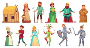 Caractères historiques médiévaux Chevaliers royaux historiques d'alcazar de cour, paysan médiéval et vecteur de bande dessinée d' illustration libre de droits