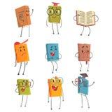 Caractères humanisés mignons d'Emoji de livre représentant différents types de la littérature, des enfants et de livres d'école illustration stock