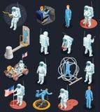 Caractères isométriques d'astronautes réglés illustration stock