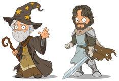 Caractères médiévaux de magicien et de chevalier de bande dessinée réglés illustration stock