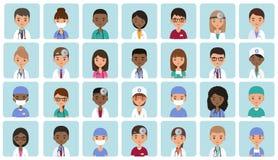 Caractères médicaux d'avatars dans la conception plate Illustration de vecteur Photos stock