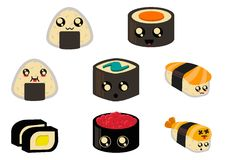 Caractères mignons de sushi de Chibi pour des autocollants et plus de planificateur photos libres de droits