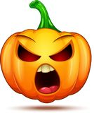 Caractères mignons, drôles, fous de potiron Émoticône de bande dessinée de Halloween photographie stock libre de droits