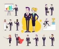 Caractères modernes de bureau réglés Différentes poses et situations Collection d'illustrations Conception plate linéaire illustration de vecteur