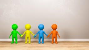 Caractères multicolores de l'humain 3D tenant des mains dans la chambre illustration de vecteur
