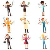 Caractères multitâche plats de bande dessinée réglés Hommes et femmes avec beaucoup de mains Les gens de différentes professions  Photographie stock