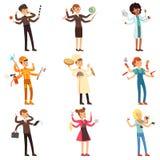 Caractères multitâche plats de bande dessinée réglés Hommes et femmes avec beaucoup de mains Les gens de différentes professions  Photos libres de droits
