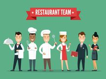 Caractères professionnels de chef de cuisinier d'équipe de restaurant Images libres de droits
