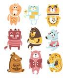 Caractères stylisés puérils mignons de Toy Bear Animals Collection Of dans des vêtements dans la conception créative Images libres de droits