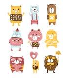 Caractères stylisés puérils mignons de Toy Bear Animals Set Of dans des vêtements dans la conception créative Photos stock
