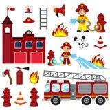 Caractères, tuyau, caserne de pompiers, pompe à incendie, alarme d'incendie, extincteur, hache, et bouche d'incendie de lutte con illustration libre de droits