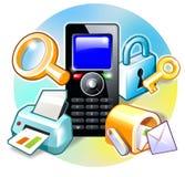 Caractéristiques de téléphone portable Photos libres de droits