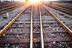 Caractéristiques de voie de train Photographie stock