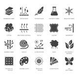 Característica da tela, ícones lisos do glyph do vetor material da roupa Símbolos da propriedade do vestuário Algodão, impermeáve ilustração stock