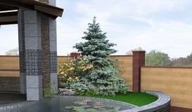 Características artísticas del área del patio, ejemplo 3d ilustración del vector