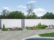 Características del diseño verdes de la sala de estar al aire libre, ejemplo 3D ilustración del vector