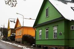 Características do alojamento de Lituânia e de Trakai fotos de stock