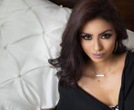 Características exóticas da cara da mulher bonita Imagem de Stock Royalty Free