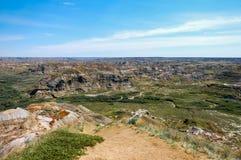 Características geológicas en el parque provincial del dinosaurio, Alberta, Canadá imágenes de archivo libres de regalías