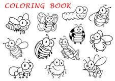 Caracteres aislados de los animales del insecto del esquema Imagenes de archivo