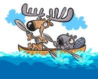 Caracteres amistosos de los alces y del castor de la historieta en la canoa Fotografía de archivo
