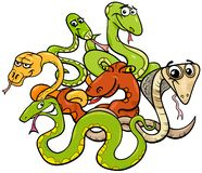 Caracteres animales de la historieta divertida de las serpientes stock de ilustración
