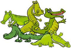 Caracteres animales de la historieta divertida de los cocodrilos libre illustration