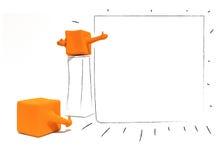 caracteres 3d anaranjados con el espacio en blanco claro de la pantalla Imagen de archivo