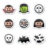 Caracteres de Halloween - Drácula, monstruo, iconos de la momia Foto de archivo libre de regalías