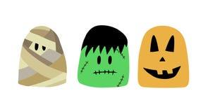 Caracteres de Halloween, momia del ejemplo del vector, frankenstein, calabaza personajes de dibujos animados para Halloween stock de ilustración