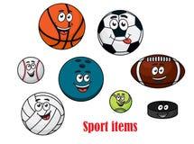 Caracteres de la bola del deporte de la historieta Imágenes de archivo libres de regalías
