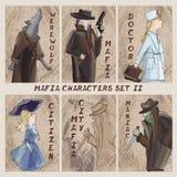 Caracteres de la ciudad de la mafia fijados Cardgame Ciudadano, mafia, maniaco, doct libre illustration