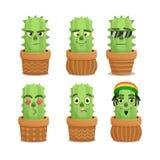Caracteres de la emoción del cactus fijados Imagen de archivo libre de regalías