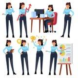 Caracteres de la empresaria Funcionamiento joven del profesional de la mujer de negocios en oficina Sistema del vector de la hist ilustración del vector