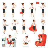 Caracteres de la empresaria Señoras del negocio en diversa actitud de la acción stock de ilustración