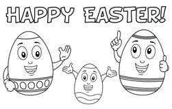 Caracteres de la familia del huevo de Pascua del colorante Imagenes de archivo