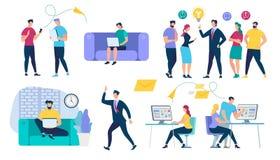 Caracteres de la gente fijados Red y trabajo en equipo sociales ilustración del vector