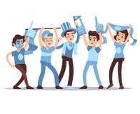 Caracteres de la gente de la historieta del vector de las fans de deportes que animan Concepto de la victoria del equipo de depor libre illustration