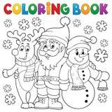 Caracteres de la Navidad del libro de colorear Fotografía de archivo libre de regalías