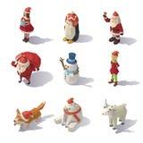 Caracteres de la Navidad del vector isométricos stock de ilustración