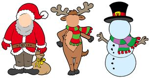 Caracteres de la Navidad sin la cara ilustración del vector
