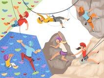 Caracteres de la subida Las rocas de pared extremas del acantilado del deporte y las colinas y las montañas rocosas grandes de la ilustración del vector