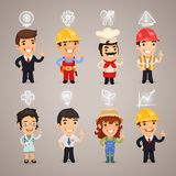 Caracteres de las profesiones con los iconos Fotografía de archivo libre de regalías